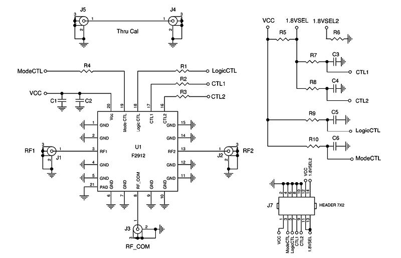 F2912EVBI Evaluation Board for High Reliability SP2T RF
